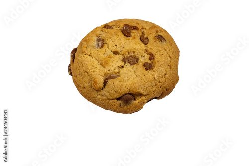 Staande foto Koekjes Chocolate chip cookie isolated on white background