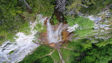 Waterfall Landscape Aerial Top View  Travel Calm Scenery Background In Slow Motion