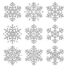 Set Of Silver Glittering Snowf...