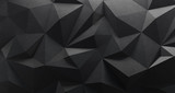 Black low poly background. 3d rendering. Crumpled paper