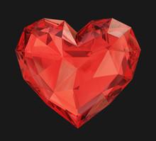 Red Diamond Heart On A Black B...