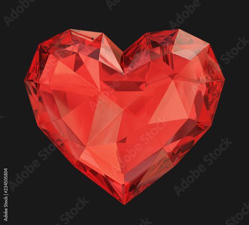 Red diamond heart on a black background Fototapeta