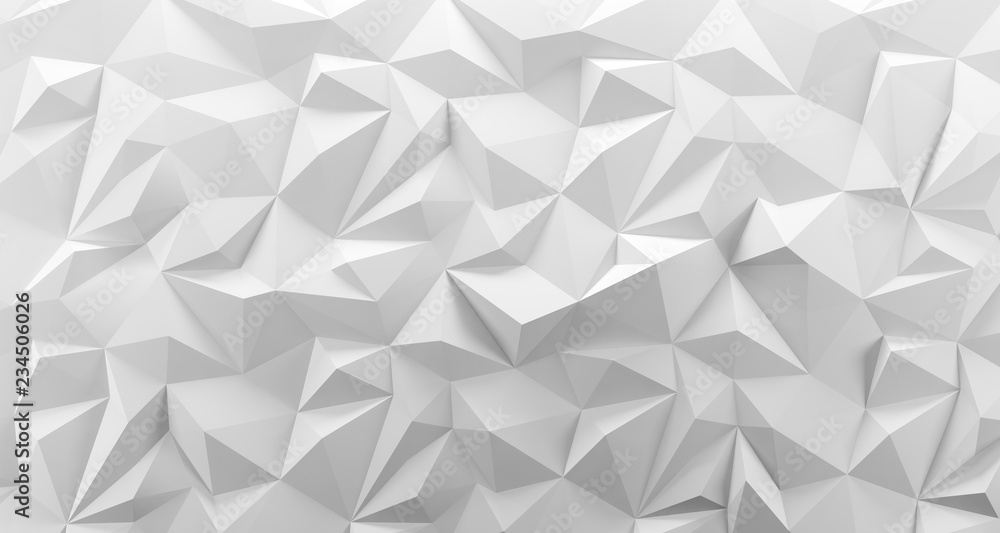 Fototapeta White low poly background texture. 3d rendering.