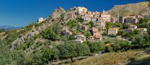 Panoramic View Of Mountain Village Speloncato (Corsica)