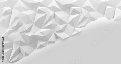 White low poly background texture. 3d rendering. - 234506008