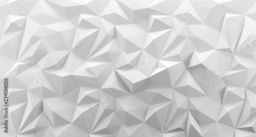 White low poly background texture. 3d rendering. - 234506026