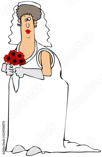 Heavy set bride in a white dress Tapéta, Fotótapéta