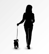Silhouette Of A Young Woman Walking With A Dog Jack Russell Terrier On A Leash. Vector Illustration