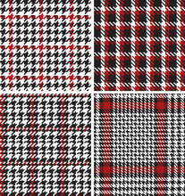 Houndstooth Pied De Poule  Pixel Fabric Vector Seamless Pattern Four Different Wallpaper
