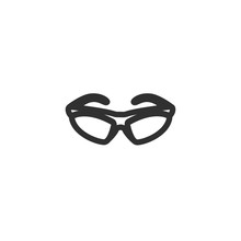 Vector Illustration Icon Of Flat Sport Eyeglasses With Black Outline With White Background