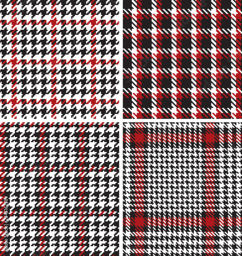 houndstooth pied de poule  pixel fabric vector seamless pattern four different w Tableau sur Toile