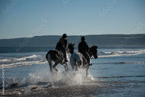 Fotografía  Two horses galloping and splashing in the sea on the beach
