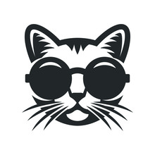 Cat In Round Sunglasses Icon.