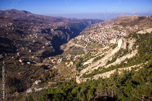 Fotobehang Midden Oosten A view of Bcharre, a town in Lebanon high in the mountains on the edge of the Qadisha Gorge. Lebanon.