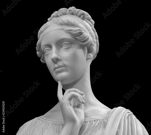 Foto op Plexiglas Historisch geb. White marble head of young woman
