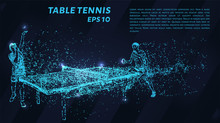 Table Tennis Of Blue Glowing Dots. Tennis Players Play The Match.