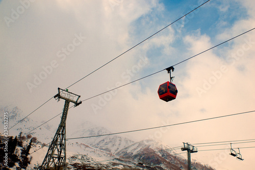 Gandola cable car in Gulmarg Kashmir India during the winter