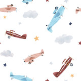 Watercolor aircraft baby pattern - 234534072