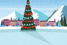 Ice Skating Rink Decorated Christmas Tree Ski Resort Hotel Houses Buildings Snowy Mountains Landscape Background Flat Winter Vacation Poster Horizontal