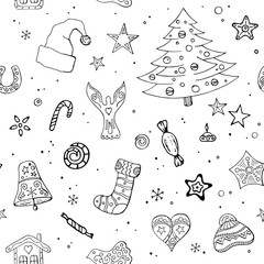 Seamless festive pattern with traditional Christmas symbols and decoration.