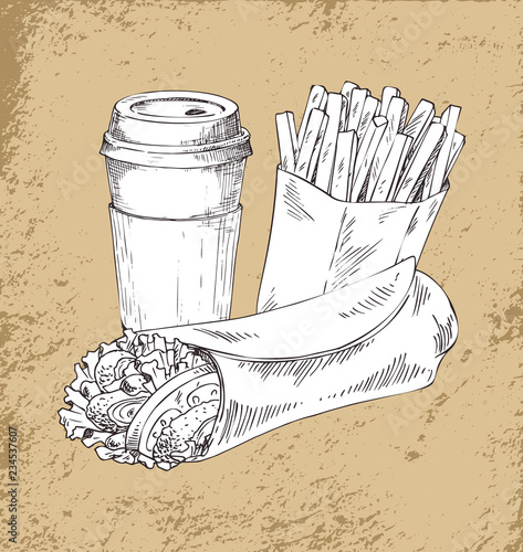 Takeaway Food and Drink Sketch Illustration Poster Canvas Print
