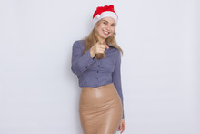 Business Woman In Christmas Hat