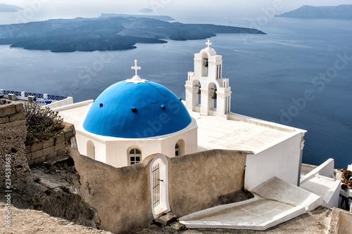 Fototapety, obrazy: Church in Thira town on the island of Santorini, Greece