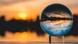 Crystal ball sunset shot near Plattling-Isar-Bavaria-Germany