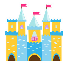 Fairy Tale Castle With Turrets. Princess Palace. Vector Illustration For Children, Kids Tales