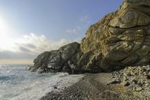 Bizarre Rocky Coast With Beautiful Bay On The Wild Greek Island Of Ikaria, Wanderlust, Off The Beaten Tourist Track