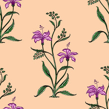 Woodblock Printed Seamless Ethnic Floral All Over Pattern. Traditional Oriental Motif Of India Mogul With Bouquets Of Pink  On Ecru Background. Textile Design.