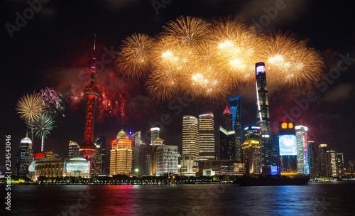 In de dag Aziatische Plekken Shanghai fireworks cityscape