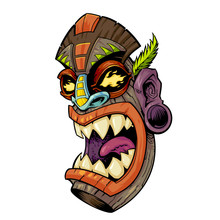 Demon Dragon Tiki Head Mask