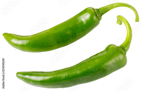 Photo TWO GREEN CHILLIES CUT OUT