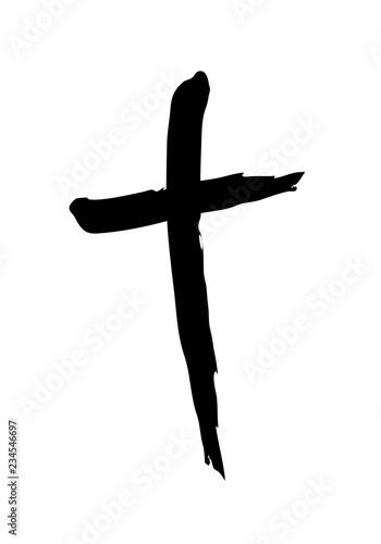 Hand drawn christian cross symbol Fototapeta