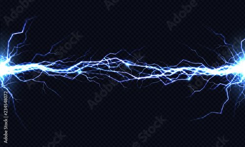 Fotografija  Powerful electrical discharge hitting from side to side realistic vector illustration isolated on black transparent background