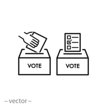 Ballot Box Vote Icon, Voting Linear Sign On White Background - Editable Vector Illustration Eps10