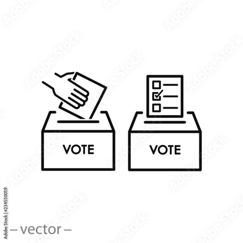 ballot box vote icon, voting linear sign on white background - editable vector i Fototapet