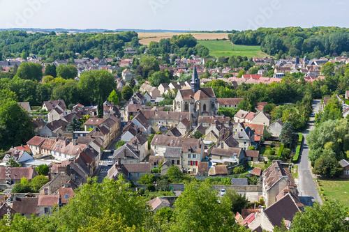 Photo  Aerial view of the village  of Mello, France.