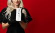 Woman hold revitalizing syringe without needle anti-wrinkle and skin rejuvenating mesotherapy