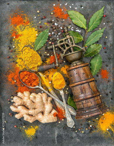 Spices curry turmeric ginger Food background