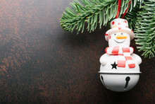 Christmas Background With Snowman. Xmas Backdrop For Your Greeting Card With Space For Text.