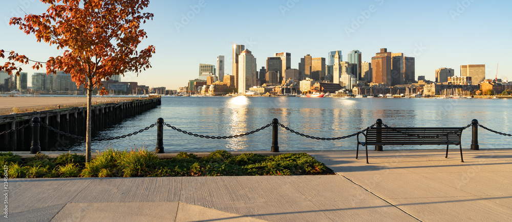 Fototapety, obrazy: View Across Boston Harbor to the Boat Traffic fronting the Downtown City Skyline