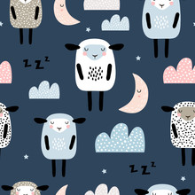 Seamless Pattern With Cute Sle...