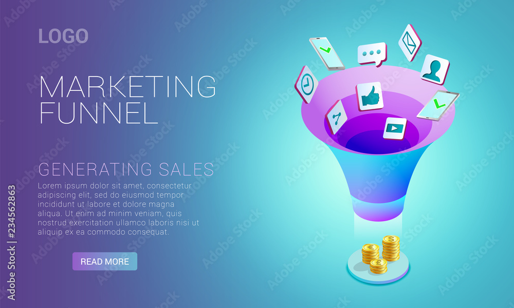 Photo  Landing page design, template with concept of marketing funnel, marketing strate