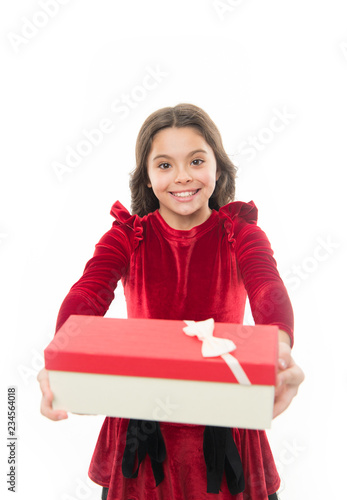 Small cute girl received holiday gift. Best toys and christmas gifts. Kid little girl in elegant dress hold gift box white background.  sc 1 st  Adobe Stock & Feeling so excited. Small cute girl received holiday gift. Best toys ...