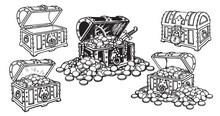 Set Of Pirate Treasure Chests In Sketch Style Open And Closed, Empty And Full Of Gold Coins And Jewelry. Hand Drawn Vector.