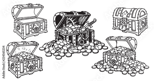 Fotografie, Obraz  Set of pirate treasure chests in sketch style open and closed, empty and full of gold coins and jewelry
