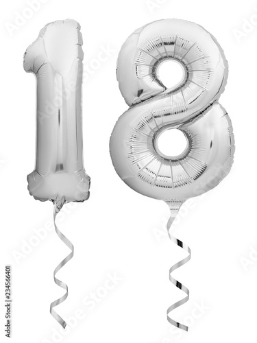 Photographie  Silver chrome number 18 eighteen made of inflatable balloon with ribbon isolated