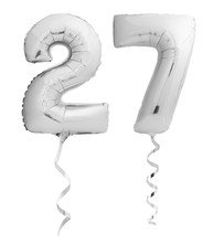 Silver Chrome Number 27 Twenty Seven Made Of Inflatable Balloon With Ribbon Isolated On White